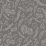 Seamless abstract pattern with  grey bird of happiness:bird feat Stock Image