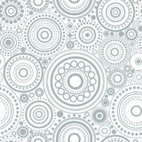 Seamless abstract pattern of grey circles and dots on white background. Kaleidoscope background. Decorative wallpaper, good for printing. Vector illustration Stock Photo