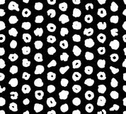 Seamless abstract pattern with grid of white spots on black background. Hand draw halftone pattern for clothing.Vector. Seamless abstract pattern with grid of Stock Images