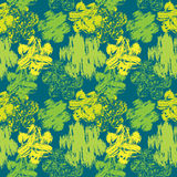 Seamless abstract pattern with grunge colorful flowers on green. Background art stock illustration