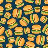 Seamless abstract pattern with hand-drawn burgers. Flat design. Royalty Free Stock Photo