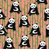 Seamless abstract pattern with hand-drawn cute pandas. backgroun Royalty Free Stock Image