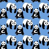 Seamless abstract pattern with hand-drawn cute pandas. Stock Images