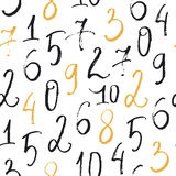 Seamless abstract pattern with hand drawn numbers in brush style. Stock Image
