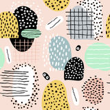 Seamless abstract pattern with hand drawn shapes and elements. Vector trendy texture Royalty Free Stock Photography