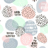 Seamless abstract pattern with hand drawn shapes and elements. Vector trendy texture Stock Photo