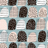 Seamless abstract pattern with hand drawn shapes and elements. Vector trendy texture Stock Photos