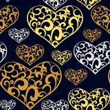 Abstract lace hearts seamless pattern stock illustration
