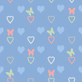 Seamless abstract pattern with hearts and butterflies Royalty Free Stock Photography