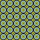 Seamless abstract pattern made by vivid circles of yellow, green Stock Photo