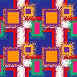 Seamless abstract pattern with neon squares, drops and splashes. Retro 80s style. Repeated backdrop for fashion clothes. T shirt, child, paper. Creative Stock Photography