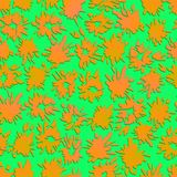 Seamless abstract pattern with orange splashes and spots. Watercolor vector illustration