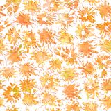 Seamless abstract pattern with orange splashes and spots. Hand drawn stock illustration
