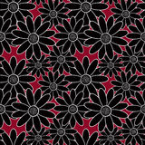 Seamless abstract pattern ornament  stylish texture. Seamless stylish pattern with black flowers with white border on red background Royalty Free Stock Photo