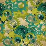 Seamless abstract pattern of pastel green gear in vintage style Royalty Free Stock Images