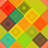 Seamless abstract pattern Patchwork frame trendy. Colored floral flower tiles. For wallpaper surface textures, textile. Summer-Autumn Design. India, Islam Royalty Free Stock Images