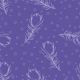 Seamless abstract pattern with peacock feathers and dots. Royalty Free Stock Photos