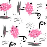 Seamless abstract pattern with pink flamingo vector illustration