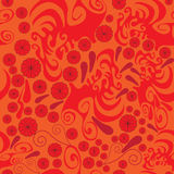 Seamless abstract pattern with red rosette and paisley Royalty Free Stock Photo