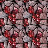 Seamless abstract pattern of red stones and rubies. Background of polygonal sharp reddish stones vector illustration