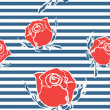 Seamless abstract pattern with roses on str Stock Images