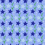 Seamless abstract pattern  with sea stars  in flat style. For design Royalty Free Stock Image