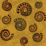 Seamless abstract pattern with spirals and spheres Royalty Free Stock Photo
