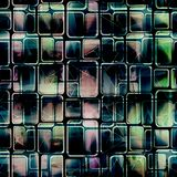 Seamless abstract pattern with squares. Blue, black background. Colorful background stock illustration