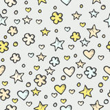 Seamless abstract pattern with stars and hearts Stock Image