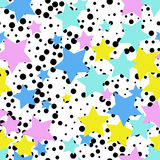 Seamless abstract pattern with stars. Memphis style, 80th. Decorative background vector illustration