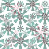 Seamless abstract  pattern. Stylized turquoise, gray, pink flowers on a white background. Royalty Free Stock Photo