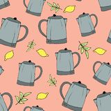 Seamless abstract pattern of teapots. Kitchenware drawn by hand liner. A print for various surfaces. Pink background. A teapot, royalty free illustration