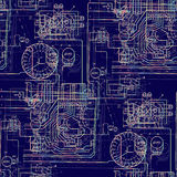 Seamless abstract pattern technology. Luminous electric circuit on a dark blue background. Royalty Free Stock Image