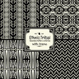 Seamless abstract pattern tribal ethnic style collection with frame Royalty Free Stock Photos