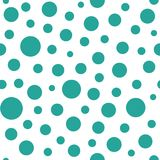 Seamless abstract pattern of turquoise circles and dots on white background. Kaleidoscope background. Geometric wallpaper, good for printing. Vector royalty free illustration