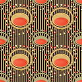 Seamless abstract pattern with unusual elements on striped Stock Image
