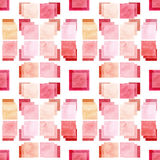 Seamless Abstract Pattern with Watercolor Pink Squares Stock Photos