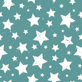 Seamless Abstract Pattern With White Stars Of Different Rotation And Size. Stock Photography