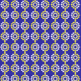 Seamless abstract pattern. Yellow and a white circles on a rich blue background. Wallpapers. Vector illustration Royalty Free Stock Images