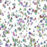 Seamless abstract random Christmas background decoration - colorful stylized pine tree pattern winter holiday design Stock Photo
