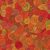 Seamless abstract red pattern of striped circles in circles. Royalty Free Stock Photos