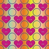 Seamless abstract retro pattern. Circles and hearts in geometric layout. royalty free illustration