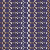 Seamless abstract retro geometric pattern. Linked chain circles in white, purple and shades of yellow. stock illustration