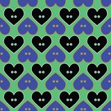 Seamless abstract retro pattern. Button hearts in geometric layout. royalty free illustration