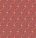 Seamles geometric pattern with lines and hexagons - vector eps8. Seamless abstract retro pattern from geometric hexagonal shapes. Suitable for web, print royalty free illustration