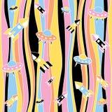 Seamless abstract rocket pattern. Seamless colored rocket and UFO pattern Stock Photo