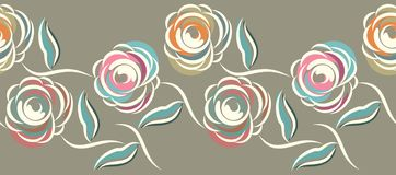 Free Seamless Abstract Rose Flower Border Royalty Free Stock Photos - 148596238