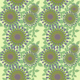 Seamless abstract round blossoms with leaves purple green. Abstract geometric seamless floral background. Regular round blossoms purple and olive green with pale royalty free illustration