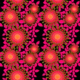 Seamless abstract round blossoms orange bright pink olive green black. Abstract geometric seamless floral background. Regular round blossoms orange, bright pink royalty free illustration