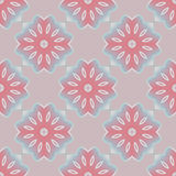 Seamless abstract round blossoms pastel red white pastel blue light gray Stock Photo